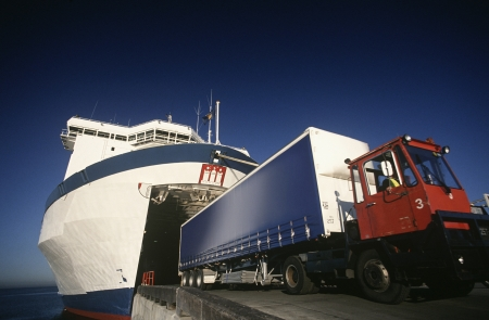 Truck exiting ferry Port Melbourne Victoria Australia