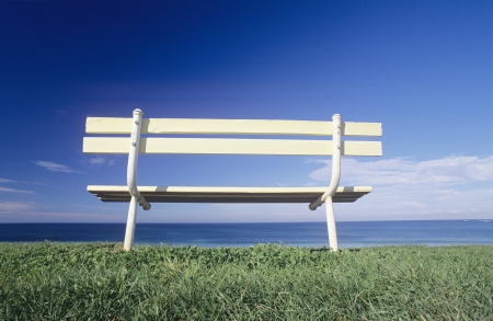 Seat overlooking ocean Victorian coastline Australia Stock Photo - 20659001