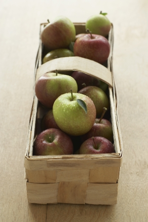 14910012,Day,Close-Up,Indoors,Summer,Food,Elevated View,Nobody,Healthy Eating,Fruit,Table,At Home,Basket,Box,Ripe,Apple,Fresh,Rustic,wood grain,apples
