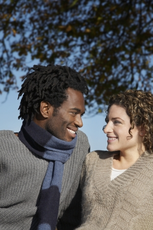hair blacks: 14920010,Outdoors,Day,Casual Clothing,30-35 Years,Mid-Adult,Mid-Adult Man,Whites,Half-Length Portrait,Mid-Adult Woman,Brown Hair,Enjoyment,Couple,Smiling,Two People,Togetherness,Black Hair,Happiness,Blacks,Curly Hair,Looking In Eyes,Sweater,colour,Hairsty