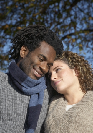 hair blacks: 14920011,Outdoors,Day,Casual Clothing,30-35 Years,Mid-Adult,Mid-Adult Man,Whites,Half-Length Portrait,Mid-Adult Woman,Brown Hair,Enjoyment,Couple,Smiling,Two People,Togetherness,Black Hair,Happiness,Affection,Blacks,Curly Hair,Sweater,colour,Hairstyle,Sca