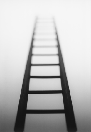 15080002,Low Angle View,Focus On Foreground,Future,Nobody,Goals,Aspirations,Single Object,Ideas,Opportunity,Studio Shot,Mystery,Ladder,Simplicity,ladder of success,The Way Forward,b&w,light source,afterlife,Perspective  ,