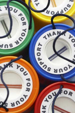 charity collection: Colorful money boxes view from above