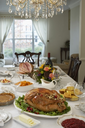 Thanksgivig dinner on table in elegant home Stock Photo - 20715197
