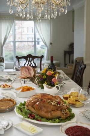 Thanksgivig dinner on table in elegant home Stock Photo - 20715197
