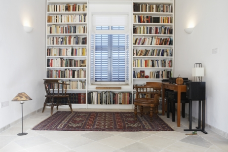 styled interior: Cyprus library of restored Mediterranean town house