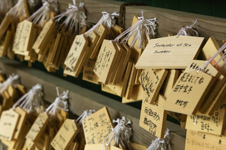 hope indoors luck: Japan Nara Kasuga Shrine Small wooden plaques with prayers and wishes (Ema)