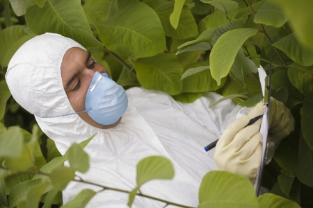 protective mask: Worker in protective mask and suit writing on pad amongst plants