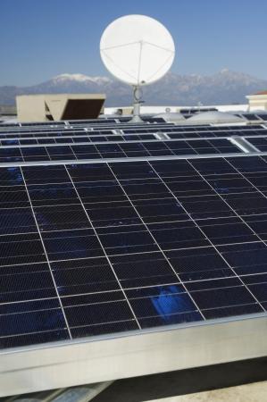 solar power plant: Solar Panels and Satellite Dish at Solar Power Plant