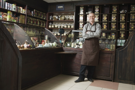 55 years old: Tea Shop Owner in Store LANG_EVOIMAGES