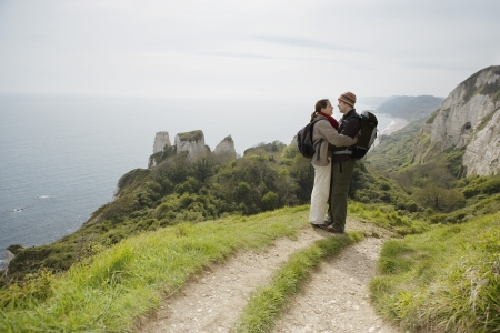 25 30 years old: Hiking Couple Standing on a Path