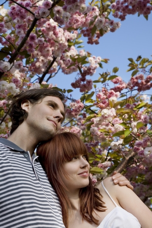 20 to 25 year olds: Young Couple Under a Blossoming Tree LANG_EVOIMAGES