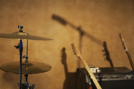 Drum Cymbals and Guitars by Amplifier Stock Photo - 20716261