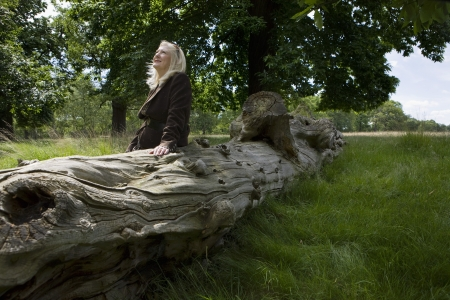 50 to 55 years old: Woman Sitting on a Dead Tree