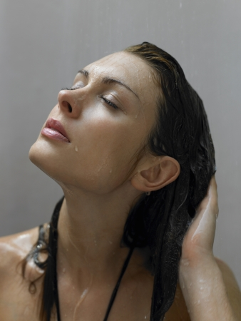 dark haired woman: Woman Showering