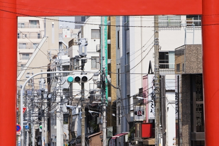 Electrical Lines and Street Light Seen Through Torii Gate Stock Photo - 20716438