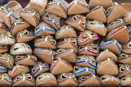bur dubai: Dubai UAE Sandals made from camel skins are for sale in the Bur Dubai souq. LANG_EVOIMAGES