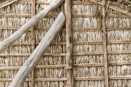 bur dubai: Dubai UAE Detail of wood thatch houses on display at Heritage Village in Bur Dubai
