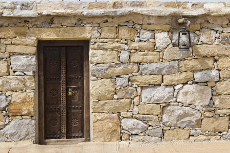 bur dubai: Dubai UAE Detail of stone huts on display at Heritage Village in Bur Dubai
