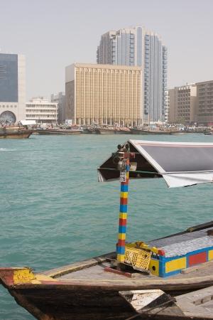 bur dubai: Dubai UAE An abra docked in Bur Dubai on Dubai Creek Deira.