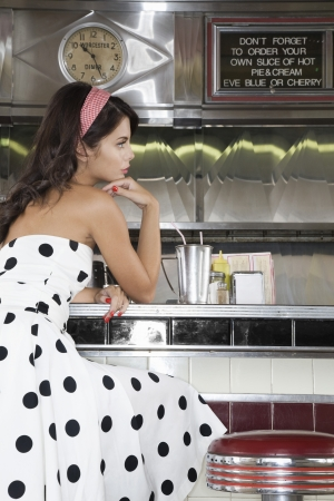 Young Woman in a Diner Stock Photo - 20715336