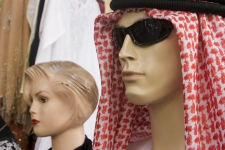 bur dubai: Dubai UAE mannequin display of traditional men?ɬ???�����??��?�?s headdress gutra at shop in Bur Dubai