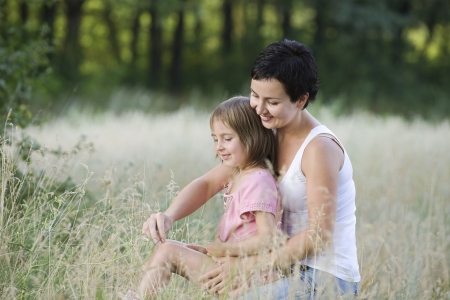 3 4 length: Mother and Daughter in a Field