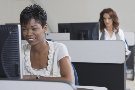 african american woman business: Cheerful African American Businesswoman Working on Computer LANG_EVOIMAGES