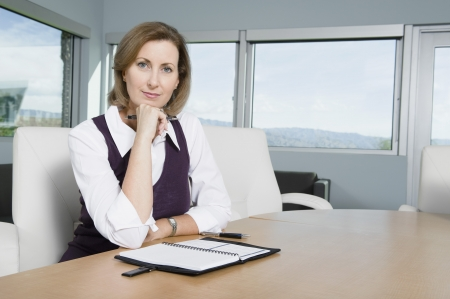 contended: Businesswoman Sitting at Meeting Table Portrait LANG_EVOIMAGES