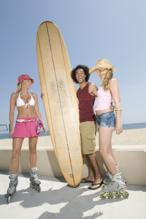 blading: Young people with surfboard