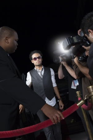 media event: Male celebrity arriving at media event
