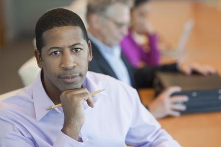 serious meeting: African American Businessman Portrait