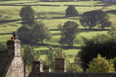 yorkshire dales: Los techos de las casas y los �rboles en los campos de Yorkshire Dales Yorkshire Inglaterra