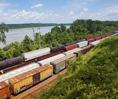 elevated view: Kansas USA freight trains elevated view