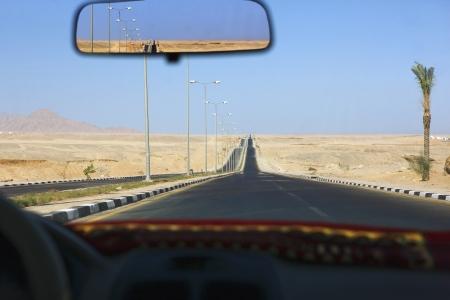 Sharm el Sheikh Egypt view through taxi windscreen