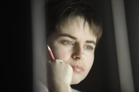 mujer pensativa: Retrato de la mujer pensativa