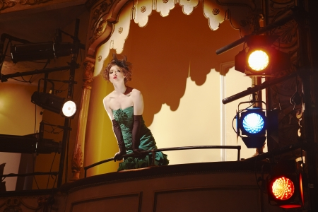 strapless: Young woman in theatre box