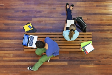 elevated view: University students studying from above