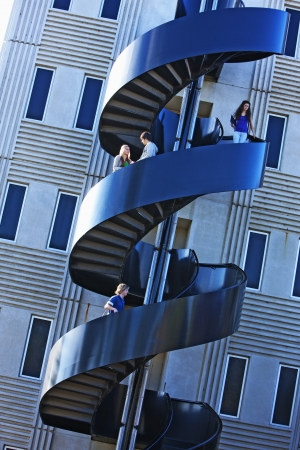 college building: Modern staircase on university campus