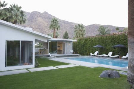 showhome: Palm Springs swimming pool and home exterior