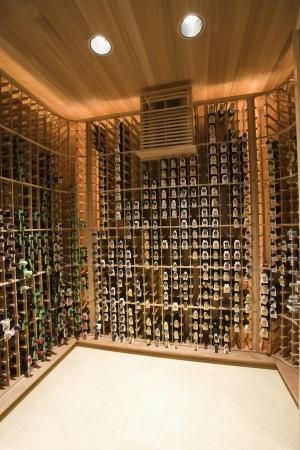home lighting: Wine cellar of Palm Springs home