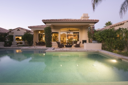 showhome: Palm Springs swimming pool evening light
