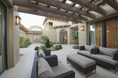 outdoor living: Outdoor room of Palm Springs home