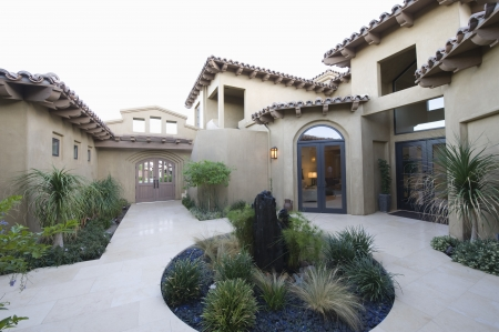 showhome: cactus garden and courtyard of Palm Springs home