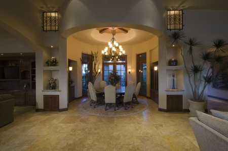 riverside county: Lit circular dining room of Palm Springs home