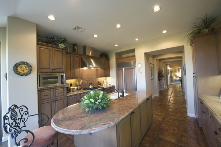 fitted unit: Marble kitchen worktop in Palm Springs interior