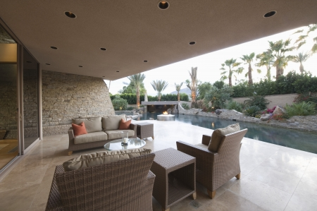 riverside county: Outdoor room of Palm Springs home