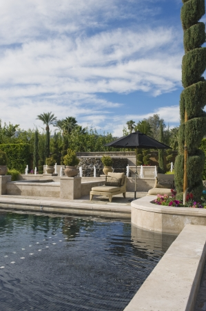 showhome: Topiary in garden with poolside sunlounger Palm Springs