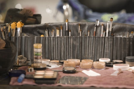 dressing table: Professional cosmetics brushes on dressing table
