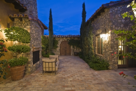 Paved courtyard exterior of Palm Springs home 写真素材